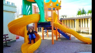 Playground Fun for Kids Play Area with Slides and Castles