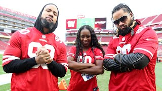 The Usos and Naomi meet San Francisco 49ers player with Connor