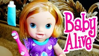 BABY ALIVE Brushy Brushy Baby Doll Babies PJ Toy Review Pee Diaper