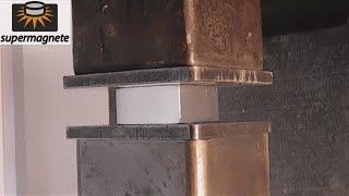 Experiment Neodymium Magnet 60*60*30 Vs 200 ton Hydraulic Press The Crusher