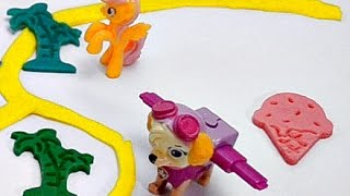 Play Doh Learn Colors Surprise toys Paw Patrol Hellow Kitty & My little pony in M&Ms with Ice cream