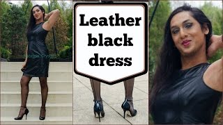 Crossdresser - leather black dress and stiletto high heels | NatCrys