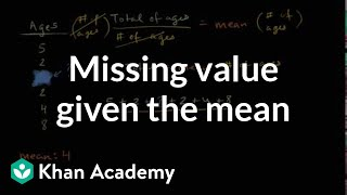 How to find a missing value given the mean   Data and statistics   6th grade   Khan Academy