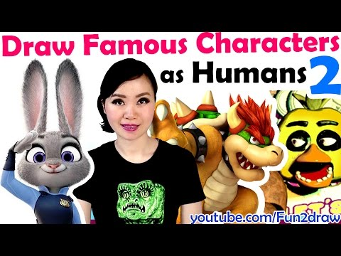 Draw Famous MOVIE GAME Characters as HUMANS ★ ART CHALLENGES