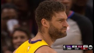 Brook Lopez - funniest 2 missed free throws in a row ever (TNT + Cavs announcers)