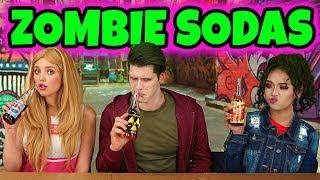 DISNEY ZOMBIES SODA CHALLENGE. ADDISON VS ZED VS ELIZA. (Totally TV Dress Up Characters)