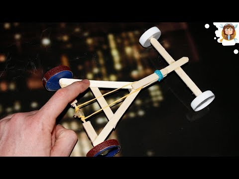 How to make a Rubber Band powered Car - ( Homemade Toy)