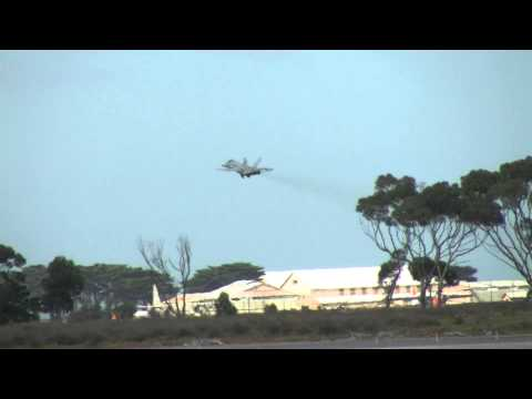 Royal Australian Air Force FA/18A Hornet A21-57 Landing at Point Cook