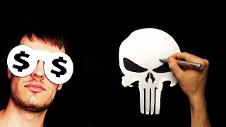 Silver Drawing - How To Draw a Punisher Skull Logo Fan Art
