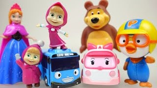 Masha and the Bear with Disney Frozen toys 마샤와 곰 과 뽀로로 겨울왕국 장난감 놀이