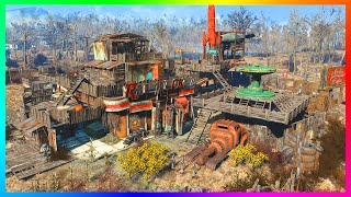 FALLOUT 4 BASE BUILDING GAMEPLAY! - Ultimate Truck Stop Battle Station & Military Base! (FO4)