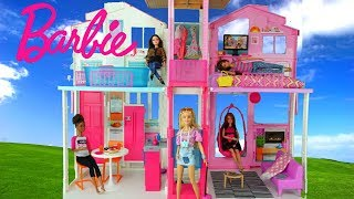Barbie Doll House with Pink Bedroom, Doll Bathroom and Toy Kitchen - Kids Toys