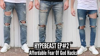 Best Fear Of God Affordable Alternatives - Distressed Denim DIY Tutorial   HYPEBEAST #2
