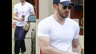 Chris Evans' Muscles Are On Display in His Tight White Tee Watch!!@