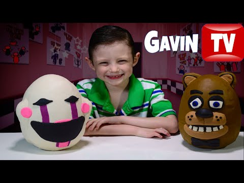 FNAF Fazbear & The Puppet 3D PLAYDOH EGGS with Plushies