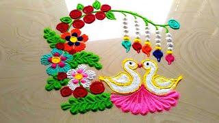 Very innovative and BEAUTIFUL rangoli design    easy and simple lovebirds rangoli designs