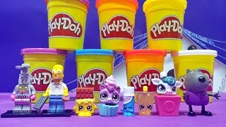 Play Doh Unboxing Homer Simpson LEGO Peppa Pig Shopkins & Littlest Pet Shop Toys