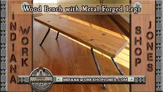 Wood Bench with Metal Forged Legs