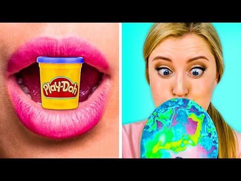 FUNNY DIY FOOD PRANKS Fake Food VS Gummy Food with 123 GO GOLD