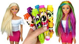 ️🌈 DIY Barbie Rainbow Hair Color with Markers   Coloring Barbie