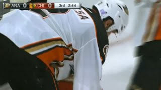 Kevin Bieksa Bloodied After Taking Puck to the Face vs Chicago (10/26/15)