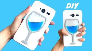 DIY FUNDA LÍQUIDA para móvil - Copa de agua o vino con líquido