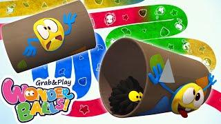 Squishy Balls Vs Running Crayons   Funny Cartoons For Kids Wonderballs Official