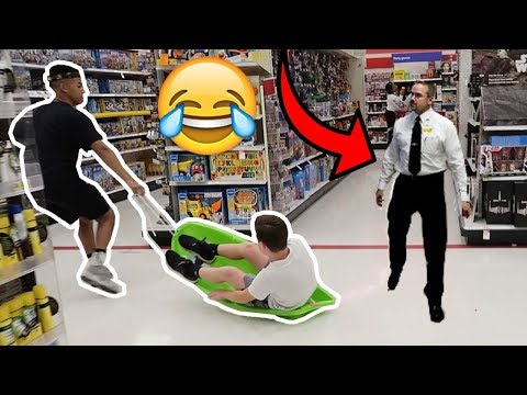 SLEDDING IN WALMART KICKED OUT