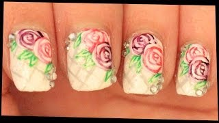 Pink & Purple Roses on White nail art