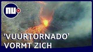 Natuurbrand vormt vuurtornado op veld in Australië | NU.nl