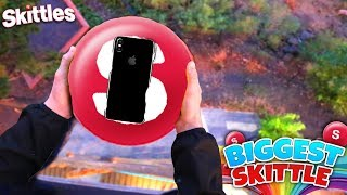 Can The Worlds Biggest Skittle Protect An iPhone X From 100FT Drop Test?! | David Vlas