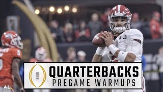 Alabama QBs Jalen Hurts and Tua Tagovailoa warm up for national championship