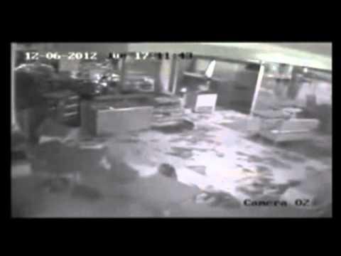 Tornado en Dolores Soriano Uruguay Camara de Seguridad en estacion de servicio