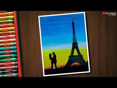 Eiffel Tower Sunset Scenery Drawing With Oil Pastels The Most