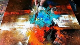Abstract Painting / How to paint abstract in Acrylics / Wash Techniques / Demonstration