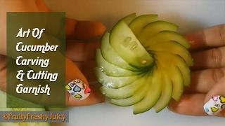 Art Of Cucumber Carving & Cutting Garnish - How To Make Cucumber Flower