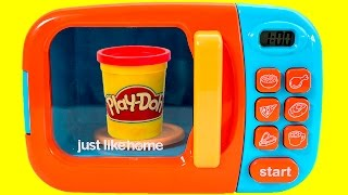 Just Like Home Microwave Oven Toy Play-Doh Kitchen Toy Cutting Food Cooking Playset Toy Videos
