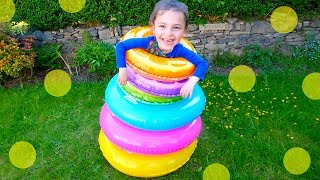 Learn Colors for Kid with Inflatable Stacking Rings, Outside PLAYGROUND Fun