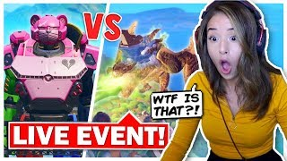 Pokimane Reacts to LIVE EVENT Monster VS Robot! Fortnite Season 9!