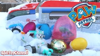 PAW PATROL Toys in Paw Patroller with Surprise Eggs Stuck & Everest Saves Day + Paw Patrol Look Out