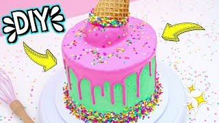 HOW TO MAKE A ICE CREAM CONE DRIP CAKE! Easy DIY Cake Tutorial For Beginners!