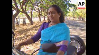 INDIA: MADRAS: INSTRUCTION FOR WOMEN TO RIDE MOTOR SCOOTERS