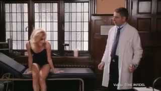 Rowan Atkinson gives Pixie Lott a full body examination.