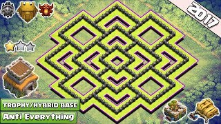 New 'BEST' Town Hall 8 (TH8) TROPHY/Hybrid Base Design!! With Gear Up Cannon & Archer Tower - COC