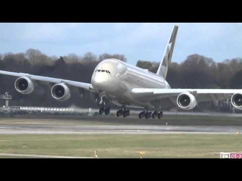 Heavy Crosswind Etihad Airways A380 A6 APB Takeoff and Landing Finkenwerder Airport