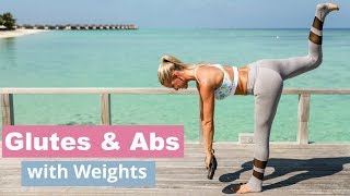 Glutes and Abs with Weights - 10 MINUTE BIKINI TONED | Rebecca Louise