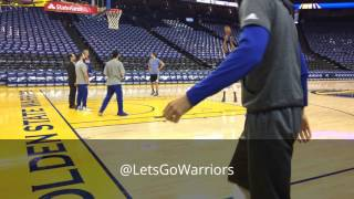 Kevin Durant (rehab) shooting around + one dunk, pregame Warriors (57-14) vs Sacramento Kings