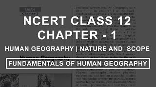 Human Geography | Nature and Scope - Chapter 1 Geography NCERT Class 12