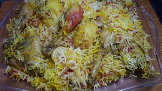 Chicken Aloo ke Gravy Masala Biryani