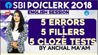 SBI CLERK  5 Errors + 5 Fillers + 5 Cloze Tests   English  Anchal mam